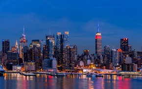 Picture night, lights, home, New York, USA, Manhattan