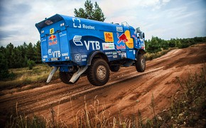 Wallpaper Truck, Master, Dirt, Russia, Kamaz, Rally, Rally, KAMAZ, The roads, Best, RedBull, Master, Flies, Silk ...