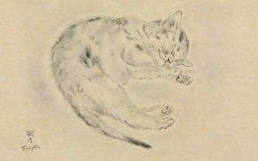 Picture paper, 1928, Tsuguharu Foujita, pen and ink, Sleeping cat, blur grey