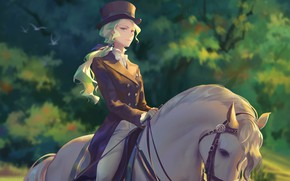 Wallpaper girl, art, Academy for witches, horse, anime, Little Witch Academia