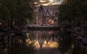Picture trees, reflection, tower, home, Amsterdam, channel, Netherlands
