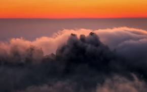 Picture clouds, mountains, tops, China, glow, Anhui
