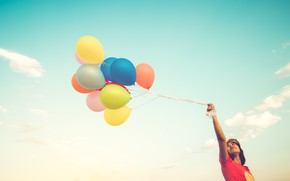 Picture the sky, girl, balls, nature, girl, colorful, balls, sky, nature, multicolor