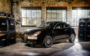 Wallpaper Great Britain, supermini, powerful, audio amplifier, Alfa Romeo MiTo By Marshall, black, UK, brick, garage, ...