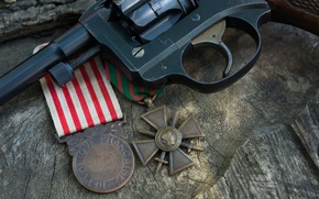 Wallpaper revolver revolver, Commemorative War Medal, WW1 France, 1914–1918, Cross of war, Medal