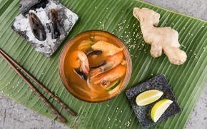Picture lemon, shrimp, seafood, ginger, Soup