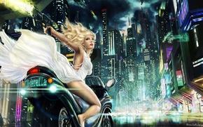 Picture girl, night, the city, lights, art, bike, Anne Marte Markussen