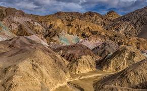 Picture mountains, rocks, desert, CA, USA, Death Valley