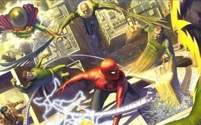 Wallpaper comic, Marvel Comics, Spider-Man, Villains, Sinister six, Alex Ross
