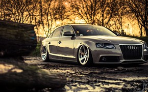 Picture Audi, The evening, Auto, Audi, Machine, Dirt, Sedan, Car, Sedan, Audi A4, German, Mike Crawat …