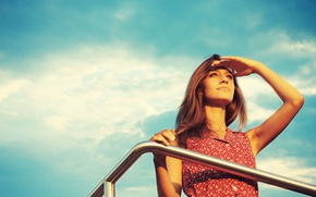 Picture the sky, eyes, girl, dress
