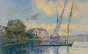 Picture landscape, house, boat, picture, sail, Albert Charles Lebar, Albert Lebourg, The Shore Of Lake Geneva. ...