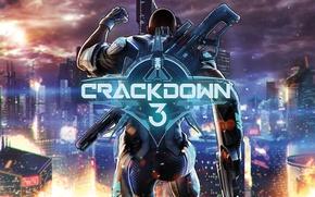 Picture city, gun, game, weapon, man, suit, Crackdown 3
