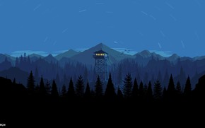 Picture Mountains, Night, The game, Forest, View, Birds, Hills, Landscape, Tower, Campo Santo, Firewatch, Fire watch