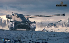Wallpaper forest, tank, World of Tanks, glade, Swedish, winter, art, heavy, snow, Kranvagn