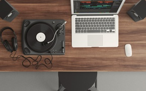 Picture table, Apple, chair, mouse, speakers, remote, laptop, Mac, chair, remote, table, mouse, laptop, Mac OS, …