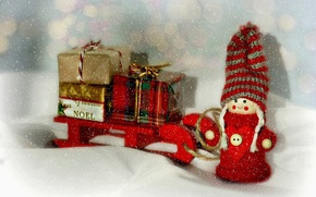 Picture snow, Christmas, girl, gifts, New year, sleigh, doll