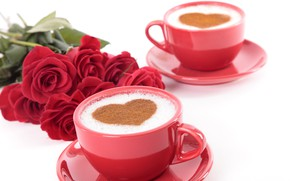 Picture holiday, heart, roses, Valentine's day, capuchino
