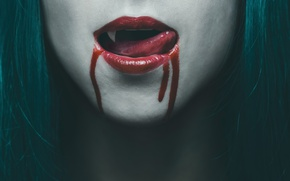 Picture blood, woman, lips, vampire, Tongue