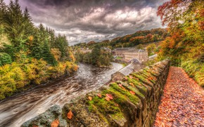 Picture forest, autumn, the sky, clouds, Lanarkshire, UK, leaves, New Lanark, moss, trees, home, for, river, ...
