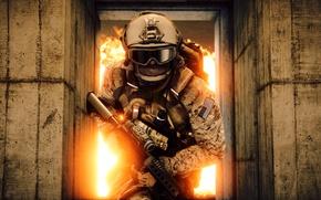 Picture gun, game, soldier, weapon, Battlefield, M4A1, rifle, uniform, seifuku, Battlefield 4, Battlefield IV