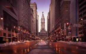 Wallpaper USA, evening, signs, United States of America, buildings, Pennsylvania, skyscrapers, traffic light, Philadelphia, car, twilight, ...