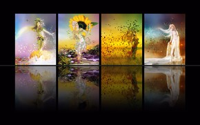 Picture winter, autumn, summer, rendering, fantasy, seasons, collage, spring, picture