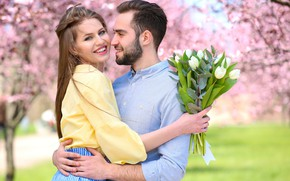 Picture girl, trees, flowers, bouquet, spring, garden, pair, tulips, brown hair, guy, white, two, flowering, lovers, …