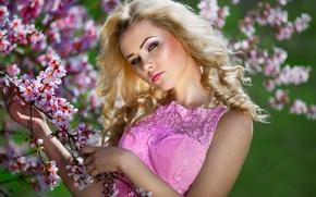 Picture spring, makeup, dress, sponge, flowering, in pink