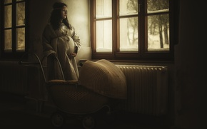 Picture girl, stroller, waiting, pregnancy