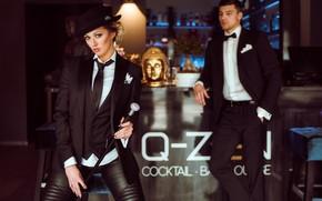 Picture pose, style, cane, model, tuxedo, Olya Alessandra, Artur Werschinin