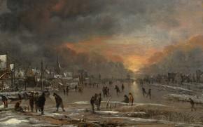 Picture landscape, picture, Aert van der Neer, Art van der Neher, Skating on the Frozen River