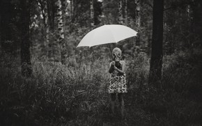 Picture umbrella, girl, gas mask, it can rain all the time