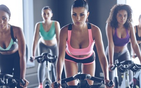 Wallpaper workout, bikes, Fitness, females