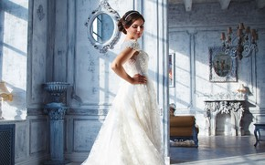 Picture pose, interior, makeup, dress, hairstyle, brown hair, is, the bride, in white, the room