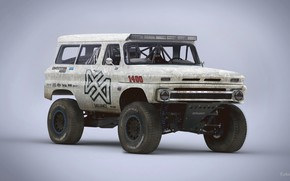 Wallpaper 1965 Chevrolet Suburban, Red White and Blue, trophy rat clean