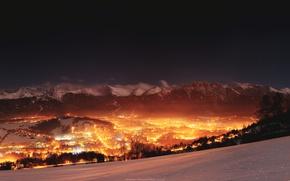 Picture night, winter, mountain, snow, Zakopane