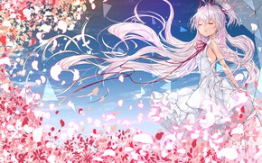 Picture girl, anime, petals, art