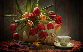 Wallpaper figurine, Cup, bouquet, tulips, tiger