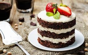 Picture food, chocolate, strawberry, cake, cream, dessert, sweet