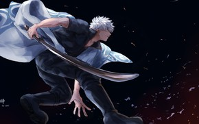 Picture sword, anime, samurai, guy, Gintama, Sakata Gintoki
