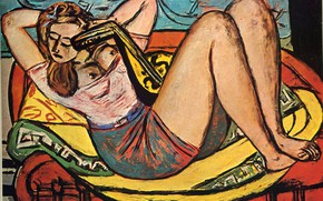 Picture chest, chair, 1950, Vanguard, Expressionism, Max Beckmann, Woman with mandolin in yellow and red