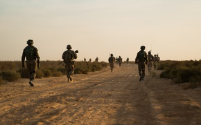 Picture road, soldiers, hike, patrol