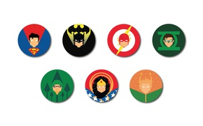 Wallpaper Green Lantern, Diana, Kal-El, Flash, Justice League, bat, Bruce Wayne, Arrow, Heroes Badges, Steeal Man, ...
