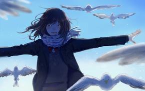 Picture the sky, girl, birds, art