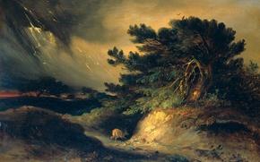 Picture landscape, tree, oil, picture, Storm, Johannes Taweret