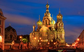 Picture Saint Petersburg, temple, Russia, night city, Church of the Savior on Blood