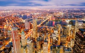 Picture river, building, New York, panorama, bridges, night city, Manhattan, skyscrapers, Manhattan, New York City, Hudson …