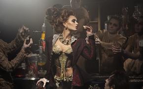 Wallpaper men, dress, cork, chemistry, flask, Victorian style, woman