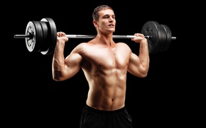 Picture pose, figure, muscle, muscle, rod, background black, press, bodybuilder, bodybuilder, barbell